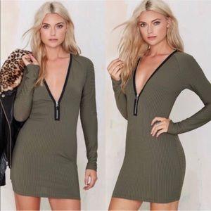 Nasty Gal Olive Green Ribbed Zipper Mini Dress